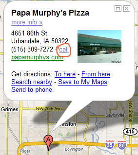 Google Maps to Papa Murphys