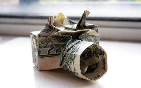 Dollar bill origami: Camera by Won Park