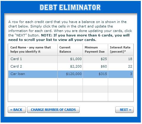 Suze Orman's Debt Eliminator tool