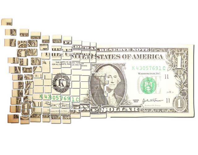 Dollar bill cut up