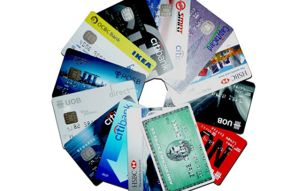 credit cards in clock formation