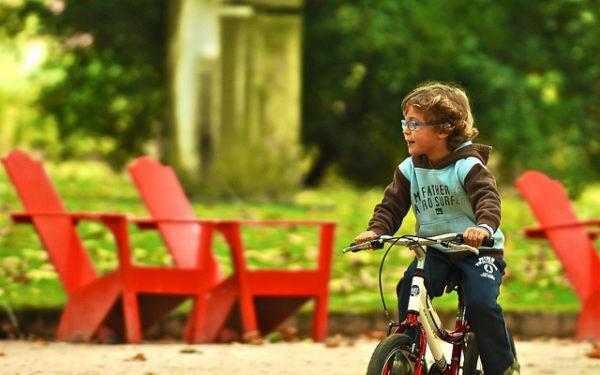 Kid on bike