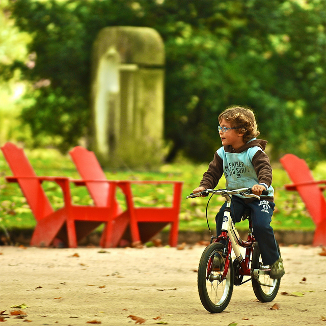Kid on bike