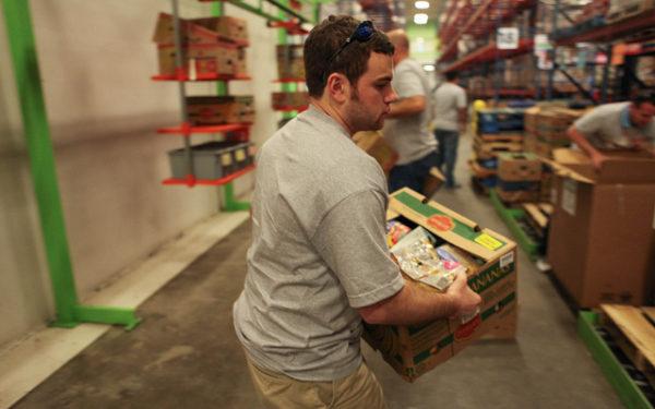 Volunteering at food pantry