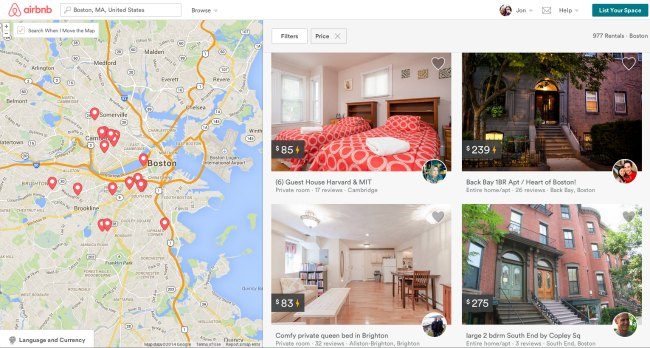 Airbnb listings in Boston
