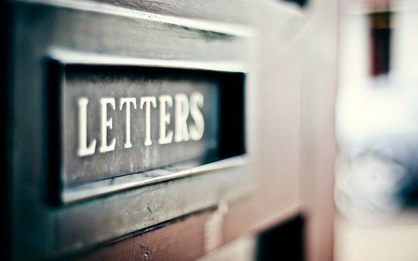 Letter slot in door