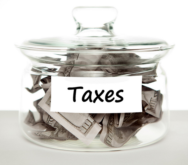 jar labeled taxes