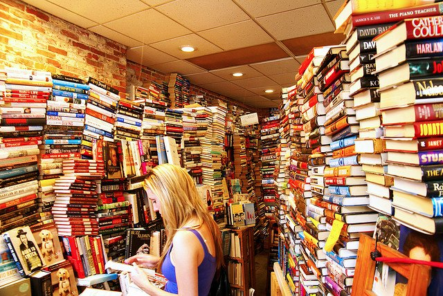 Woman in a bookstore