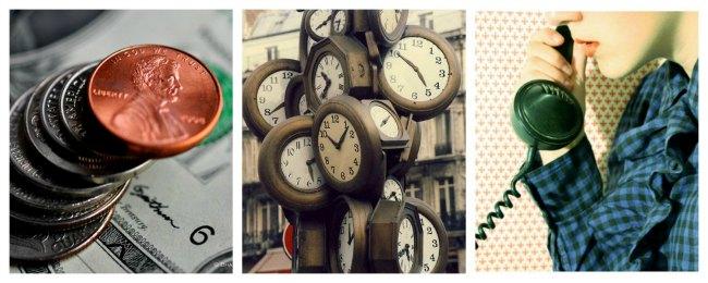 Money, time, and communication. Photos: peddhapati, Nick, ona Anglada Pujol