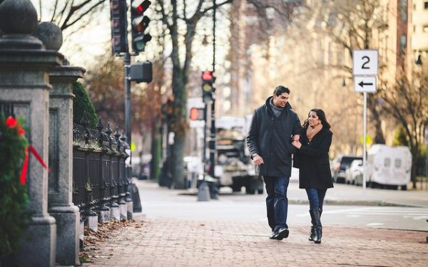 engaged couple in Boston
