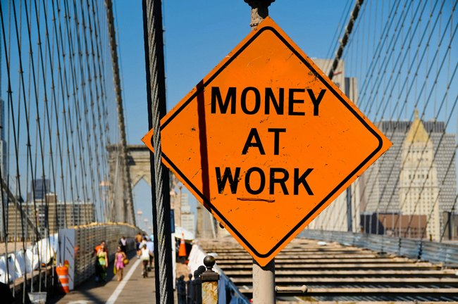 Money at Work sign