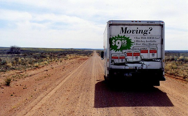Uhaul truck on dirt road