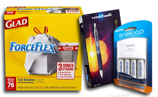 Glad ForceFlex bags, UniBall Pen, Sanyo Pre-Charged batteries