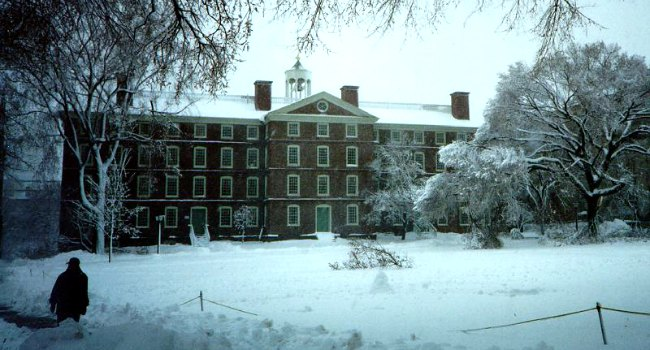 Brown University in the snow