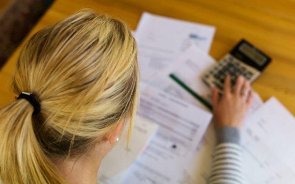 woman reviewing bills