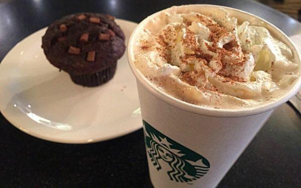 Starbucks latte and muffin