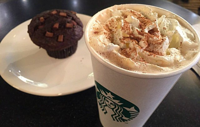 Starbucks latte and muffin
