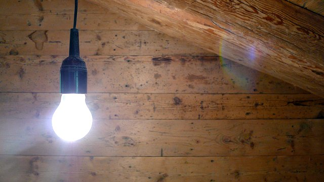 dangling light bulb