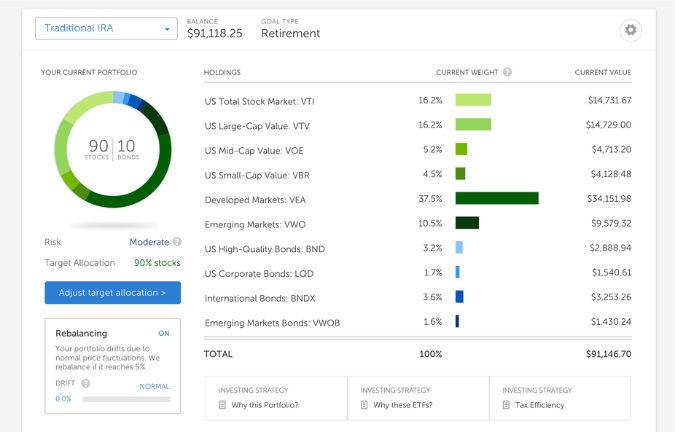 Betterment portfolio screenshot