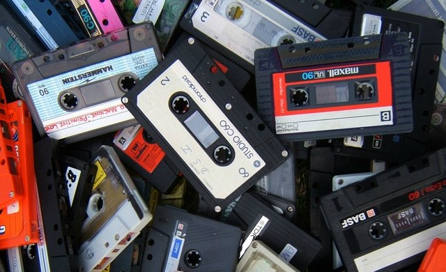 heap of old cassette tapes