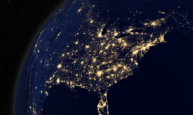 United States from space, at night