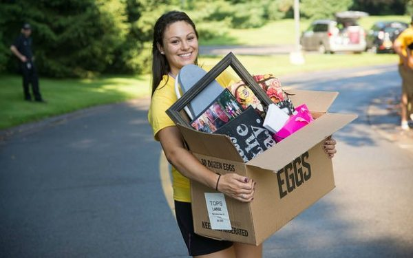 college student on move-in day