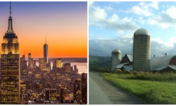 new york city skyline; upstate new york farm