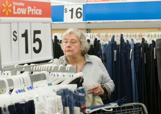 Woman shopping apparel at Walmart