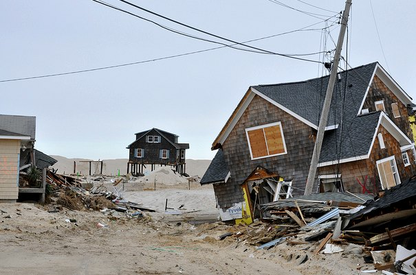 damaged houses on Jersey Shore