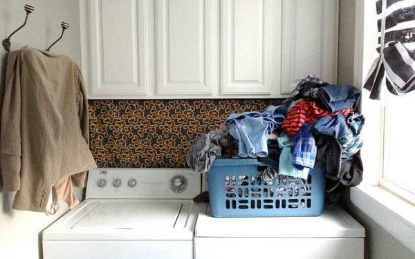 laundry basket on washer