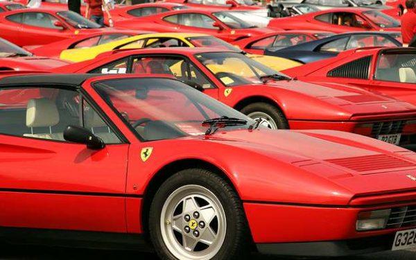 parking lot full of Ferraris
