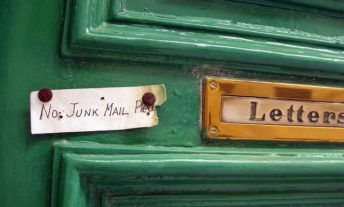 letter slot with no junk mail sign