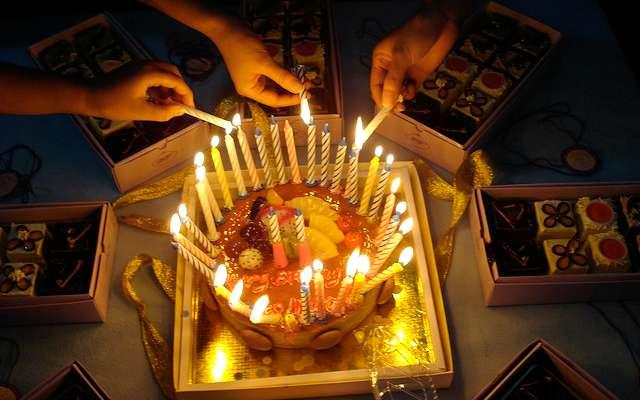 35 candles on birthday cake
