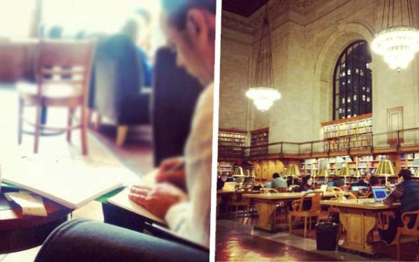 working in coffee shop / working in NY Public Library