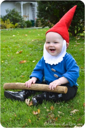 kid dressed as garden gnome - diy halloween costumes