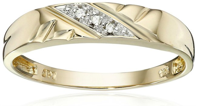 cheap wedding rings - gold and three diamond wedding band