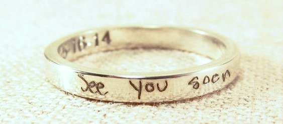 cheap wedding bands - personalized handwriting ring