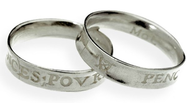 affordable wedding ring bands- silver shakespeare rings