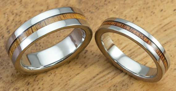 cheap wedding bands - titanium and koa wood inlay