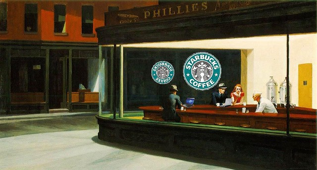 starbucks in style of edward hopper