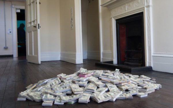pile of money on floor