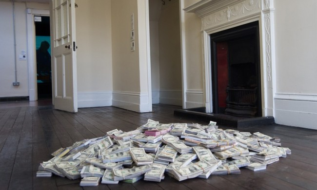 pile of money on floor