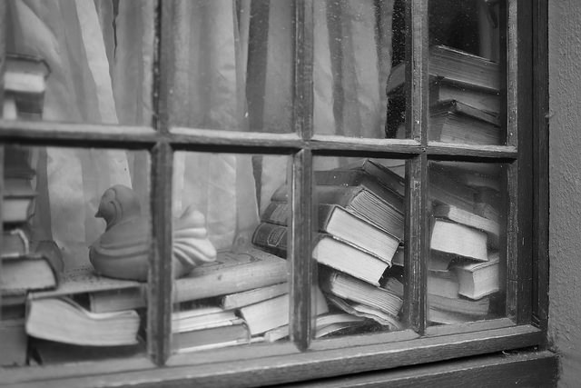 books in a window