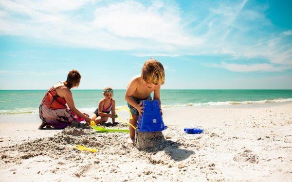 kids on beach in st. petersburg fla.