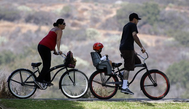 family on a bike ride in a park