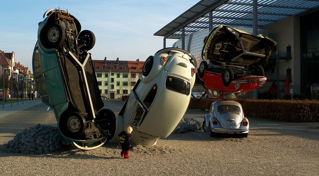 sculpture of a car pile-up