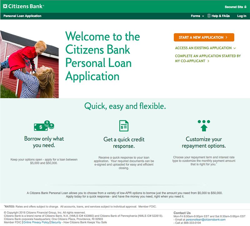 Citizens Bank Application