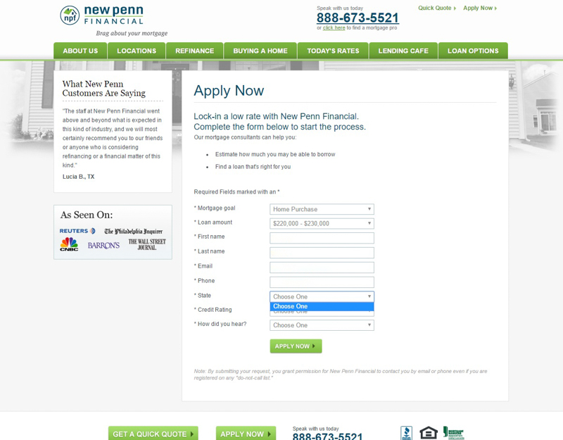 Screenshot of error on New Penn site