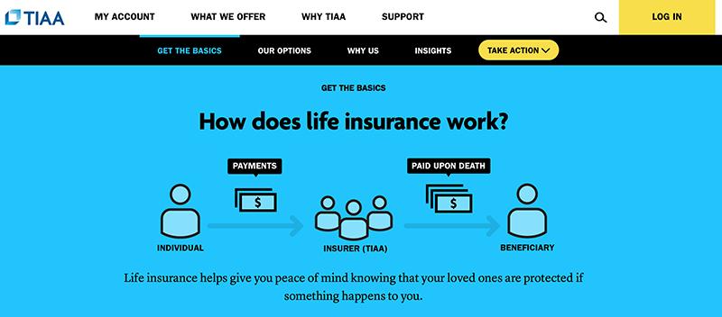 Screenshot of TIAA Life Insurance Education