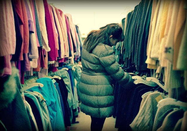 shopping at a thrift store